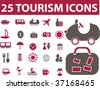 25 tourism icons. vector - stock vector