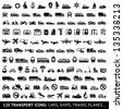 120 Transport icons: Cars, Ships, Trains, Planes, vector illustrations, set silhouettes isolated on white background. - stock photo