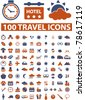 100  travel signs, icons, vector - stock photo