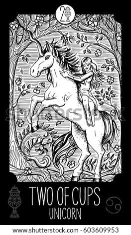 Unicorn Minor Arcana Tarot Card Fantasy Line Art Illustration