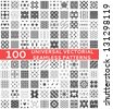 100 Universal different vector seamless patterns (tiling). Endless texture can be used for wallpaper, pattern fills, web page background,surface textures. Set of monochrome geometric ornaments. - stock vector