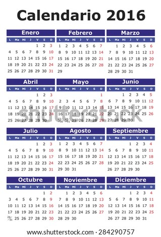 2016 vector calendar in Spanish. Easy for edit and apply. Calendario 2016