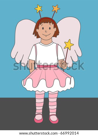 (Vector eps 10) A cute illustration of a little girl dressed up as an angel or fairy. Not just for Christmas, but for any time of year!