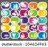 25 vector food and drinks vector labels set - stock vector