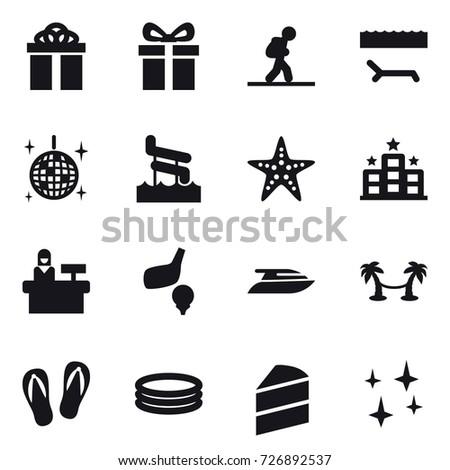 16 vector icon set   gift tourist lounger disco ball aquapark 16 vector icon set flag gift stock vector 735584623   shutterstock  rh   shutterstock