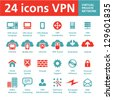24 Vector Icons VPN (Virtual Private Network) - stock vector