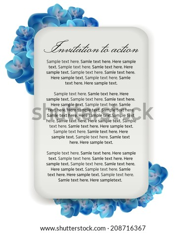 vector illustration. label on a bouquet of hydrangeas