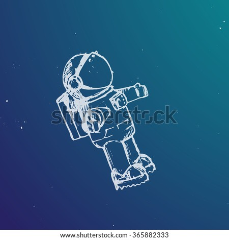 Vector illustration. Spaceman in a space in sketch style.
