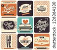 9 Vintage styled Valentine's Day Card - Set of calligraphic and typographic elements, frames, vintage labels. Ribbons, stickers,postcard, invitation, poster - all for Lovers! - stock vector