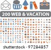 200 web & vacation travel icons, signs, vector - stock vector