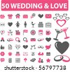 50 wedding & love signs. vector - stock vector
