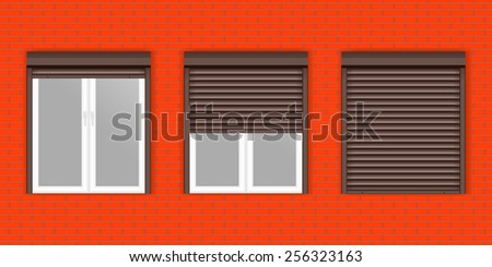 Windows with Rolling Shutters - vector drawing isolated on Red brick wall