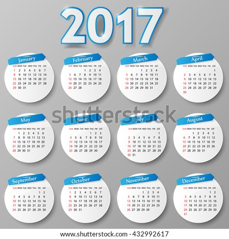 2017 year calendar design. Vector illustration.