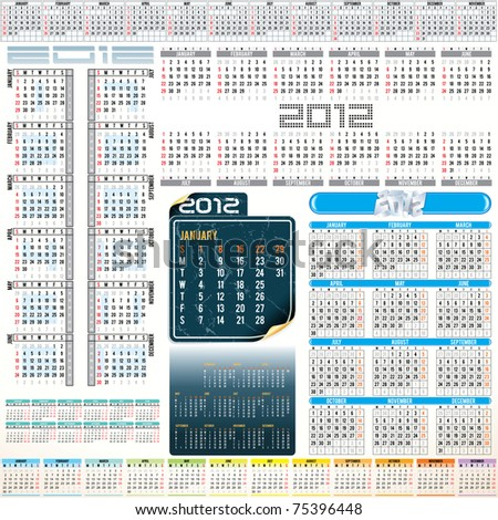 2012 year Calendar grids - vertical and horizontal orientation , weeks starting from Sunday and Monday.