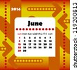 2014 year calendar in vector with arrows. June - stock photo
