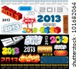 2013 Year Calendar. Set of vector design elements - stock vector