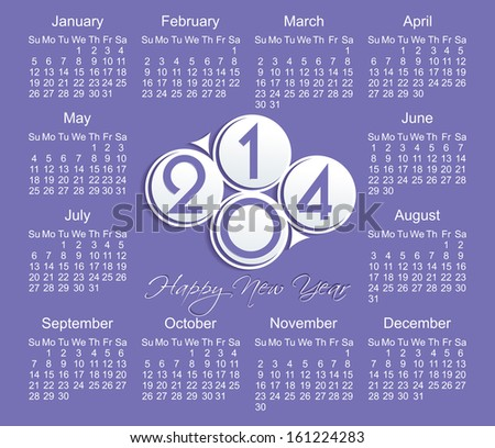 2014 year vector calendar (EPS 10)