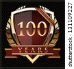 100 years anniversary golden label - stock photo