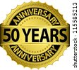 50 years anniversary golden label with ribbon, vector illustration - stock photo