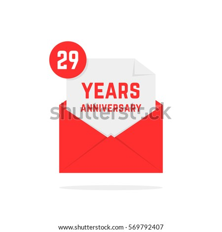 29 years anniversary icon in red open letter concept of send sms e