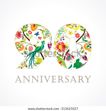 Happy holidays card ethnic patterns birds stock vector 705748186 90 years old luxurious celebrating folk logo template colored 90 th happy anniversary greetings bookmarktalkfo Image collections