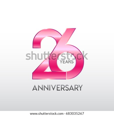 26 Years Anniversary Celebration Design On Stock Vector ...