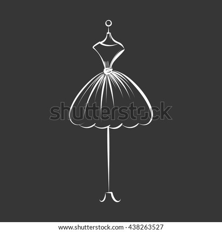 a ball gown short mannequin hand drawing illustration on a black background