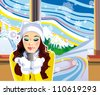 A beautiful caucasian girl drinking hot coffee at a ski resort during a snowy day - stock vector
