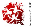 A biohazard symbol reversed out of a blood spill - stock photo