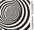 A black and white relief tunnel. Optical illusion. Vector illustration. - stock photo