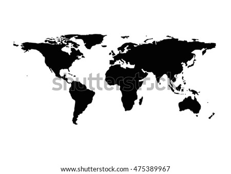 World map highlighted china simlified political stock vector a black and white silhouette of a world map gumiabroncs Choice Image