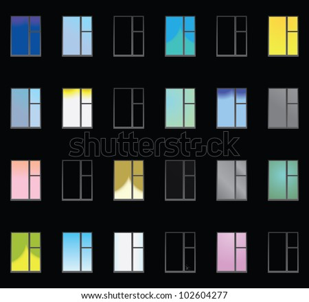 A black wall with lighted windows - vector seamless texture