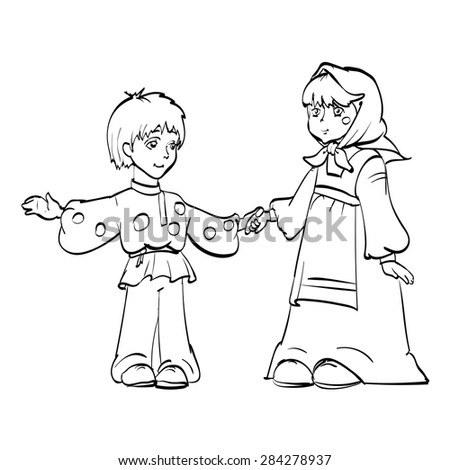 a boy and a girl dressed as a fairy tale village vector Russian tale