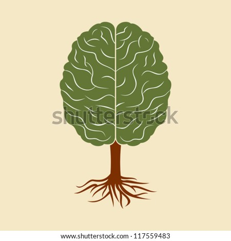 a brain growing in the shape of tree