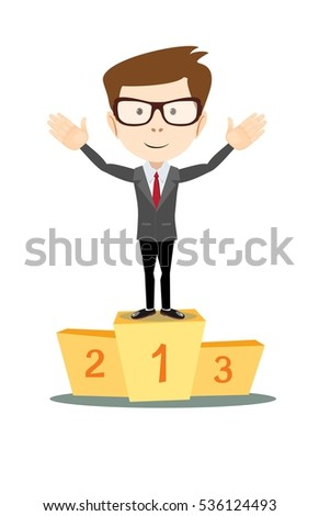 A businessman proudly standing on the winning to number 1 podium flat style vector cartoon illustration