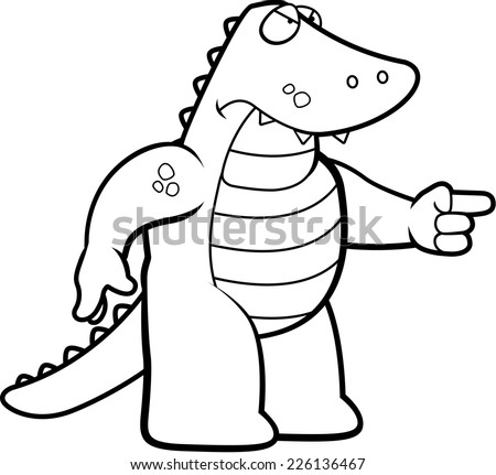 A cartoon alligator looking angry and pointing.