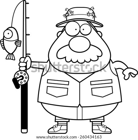 A Cartoon Illustration Of Fisherman With Mustache
