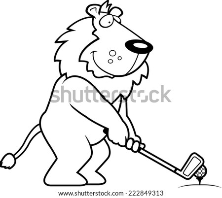 A cartoon illustration of a lion playing golf.