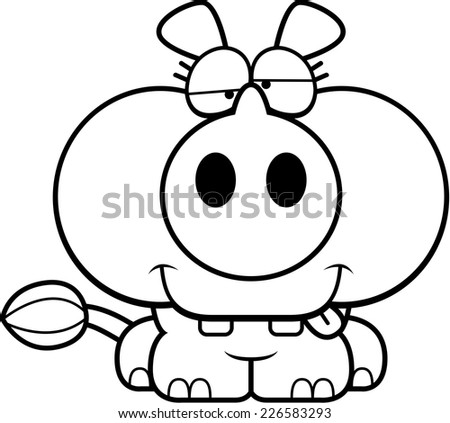 A cartoon illustration of a little rhinoceros with a goofy expression.