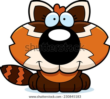 A cartoon illustration of a red panda happy and smiling.