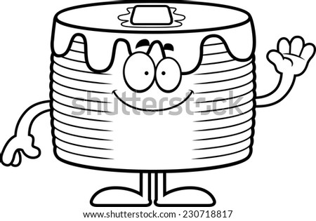 A cartoon illustration of a stack of pancakes waving.