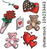 A cartoon illustration of various Valentine's Day-related items, isolated on white.. - stock photo