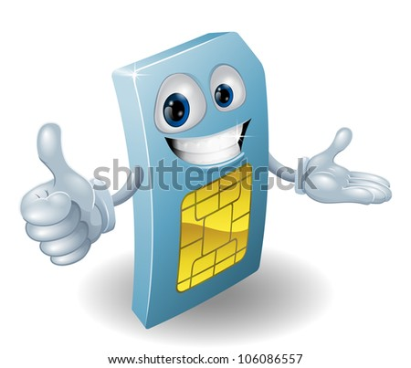 A cartoon mobile phone sim card man smiling