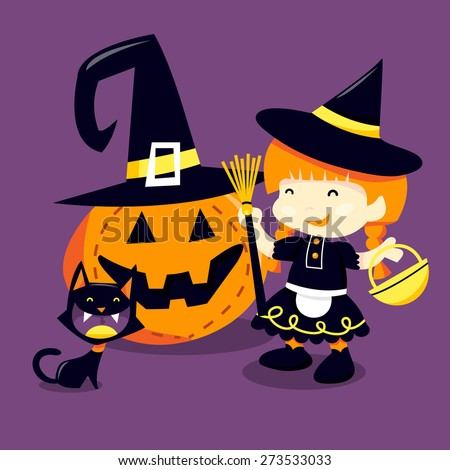 A cartoon vector illustration of a happy girl in witch halloween costume going trick or treating with her pet cat.
