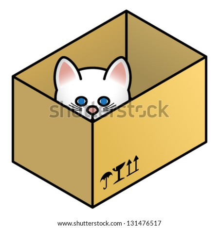 A cat in a box peering out.