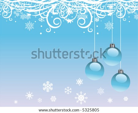 A Christmas, winter design with snowflakes and ornaments