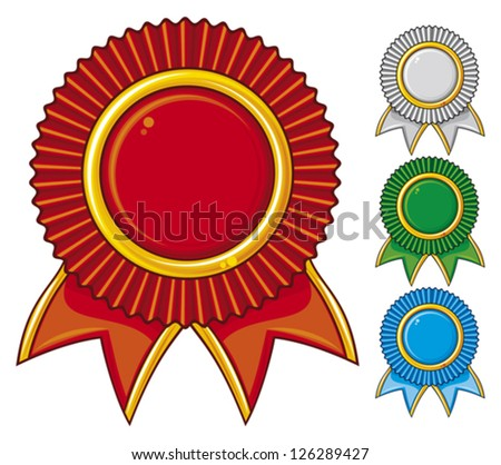 a collection of awards icon colored blue, red, gray and green (set of four rosettes)