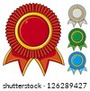 a collection of awards icon colored blue, red, gray and green (set of four rosettes, award ribbon rosette, award ribbon) - stock photo