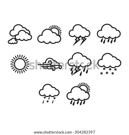 A collection of different weather icon