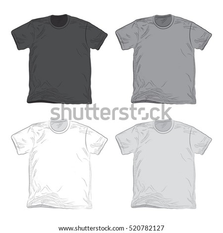 A collection of four vector t-shirts for use in clothing mock-ups. These shirts are illustrated in a sketchy style with halftone shading.
